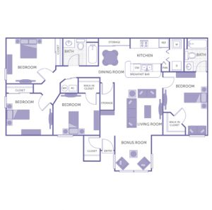 4 bed 2 bath floor plan, kitchen, dining room, living room, bonus room, 2 walk-in closets, 3 closets, 2 storage closets, washer and dryer in unit